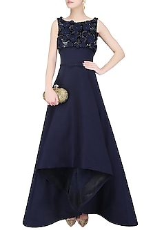 Midnight Blue 3D Floral Embroidered High Low Ball Gown by AMIT GT
