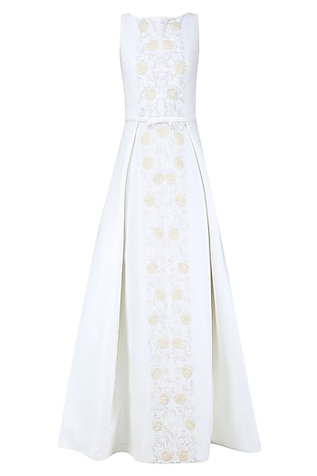 Off White and Gold 3D Floral Embroidered Ball Gown by AMIT GT