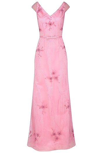 Pink Beads Embroidered Floral Motifs Gown by AMIT GT