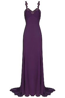 Purple Pearl Embroidered Strappy Gown by AMIT GT
