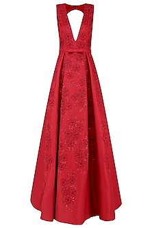 Red 3D Floral Embroidered Motifs Ball Gown by AMIT GT