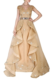 Golden Embroidered Gown by AGT By Amit GT