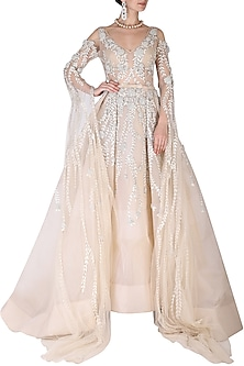 Beige Embroidered Gown by AMIT GT