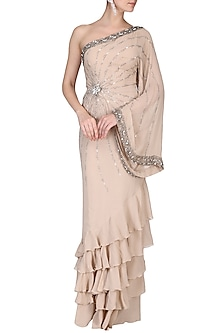 Beige Embroidered Gown Saree by AGT By Amit GT