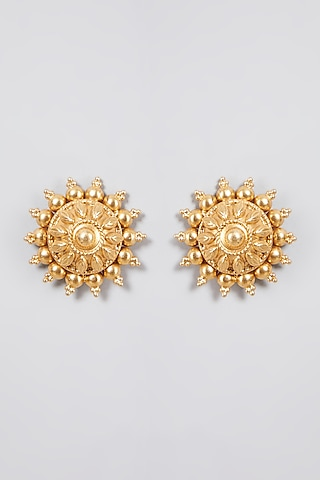 Gold Finish Stud Earrings In Sterling Silver by Aaharya