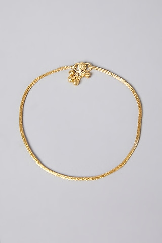 Gold Finish Anklets In Sterling Silver by Aaharya