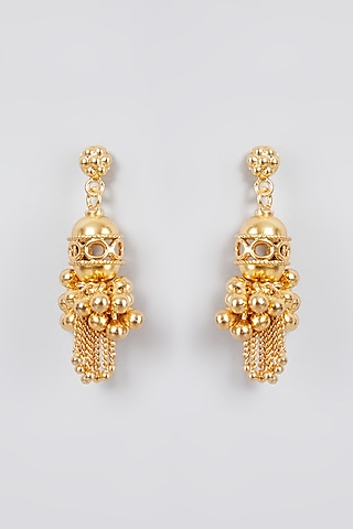 Gold Finish Handcrafted Earrings In Sterling Silver by Aaharya