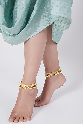 Gold Finish 92.5 Sterling Silver Anklets In Sterling Silver by Aaharya