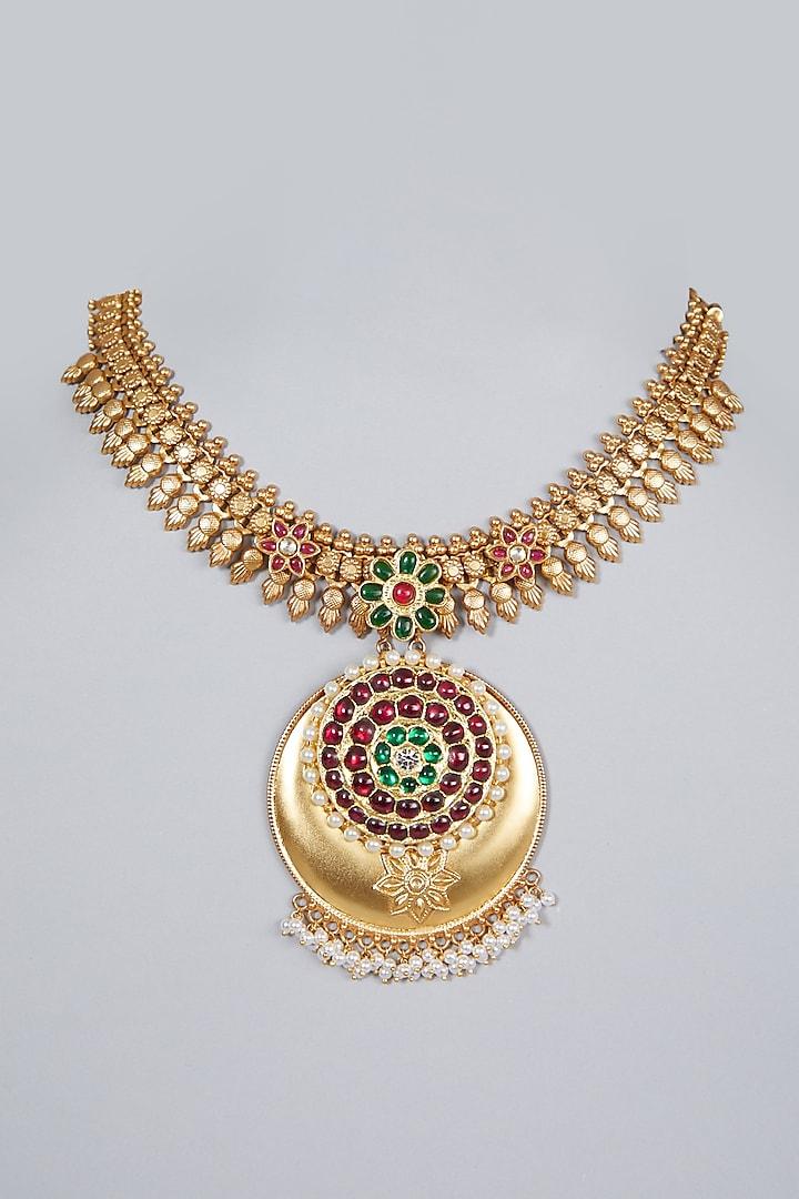 Gold Finish Gemstone & Kundan Polki Temple Necklace by Aaharya