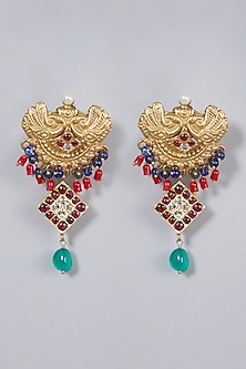 Gold Finish Earrings by Aaharya