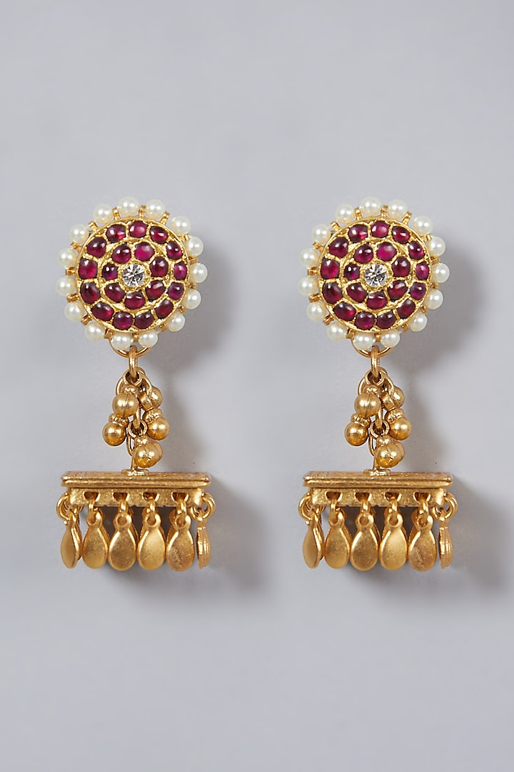 Gold Finish Floral Jhumka Earrings by Aaharya