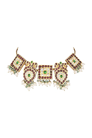 Gold Plated Kemp Stone Choker Necklace by Aaharya