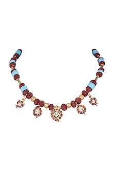 Gold Plated Kemp Stone & Blue Beaded Pendant Necklace by Aaharya