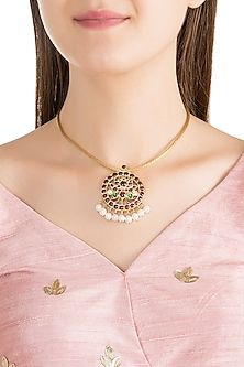 Gold Plated Kemp Stone & Pearl Lotus Pendant Necklace by Aaharya