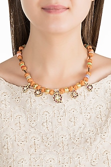 Gold Plated Kemp Stone & Beaded Necklace by Aaharya