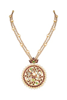 Gold Plated Pearl & Kemp Stone Pendant Necklace by Aaharya