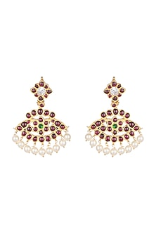 Gold Plated Floral & Leaf Motif Earrings by Aaharya