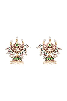 Gold Plated Kemp Stone Chandrabali Jhumka Earring by Aaharya