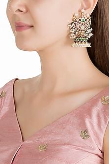 Gold Plated Kemp Stone Chandrabali Jhumka Earring by Aaharya