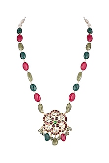 Gold Plated Precious & Semi-Precious Stones Necklace by Aaharya