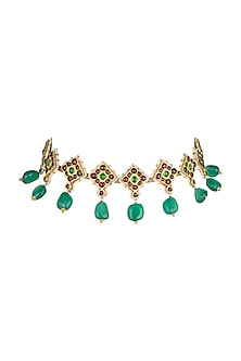 Gold Plated Precious & Semi-Precious Stones Choker Necklace by Aaharya