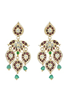 Gold Plated Semi-Precious & Precious Stones Earrings by Aaharya