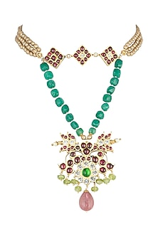 Gold Plated Pearl & Kempstone Necklace by Aaharya