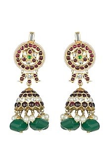 Gold Plated Handcrafted Kempstone Earrings by Aaharya