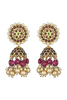 Gold Plated Handcrafted Pearl Earrings by Aaharya