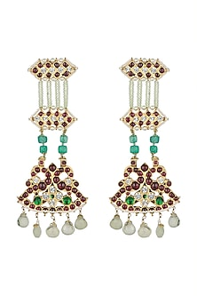 Gold Plated Handcrafted Long Earrings by Aaharya