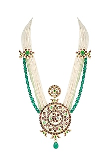 Gold Plated Handcrafted Necklace With Kempstones by Aaharya