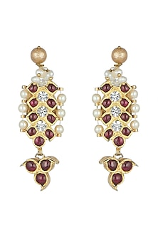 Gold Plated Red Kempstone Earrings by Aaharya
