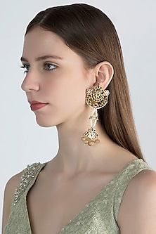 Gold Plated Dangler Earrings by Aaharya