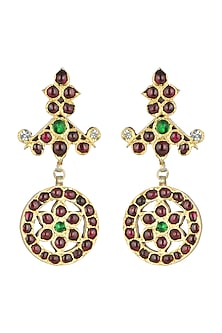Gold Plated Red & Green Kempstone Earrings by Aaharya