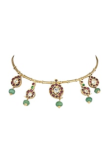 Gold Plated Green Kempstone Choker Necklace by Aaharya