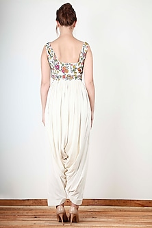 Ivory Floral Embroidered Jumpsuit by Aharin India