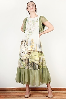 Off White & Green Printed Dress by Aharin India
