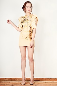 Cream Printed Ruffled Mini Dress by Aharin India