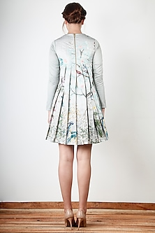 Grey Embroidered & Printed Dress by Aharin India