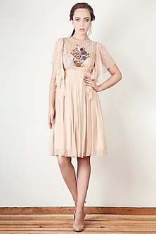 Peach Embroidered Flared Dress by Aharin India