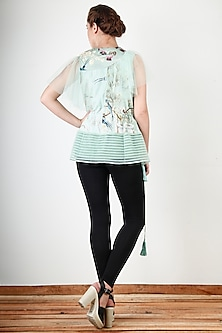 Pista Green Embroidered & Printed Top by Aharin India