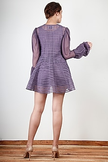 Mauve Embroidered & Striped Dress by Aharin India