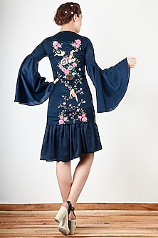 Navy Blue Embroidered Pleated Dress by Aharin India