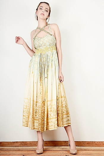 Cream Printed Flared Dress by Aharin India