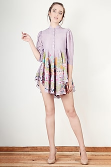 Mauve Flared Tunic Dress by Aharin India