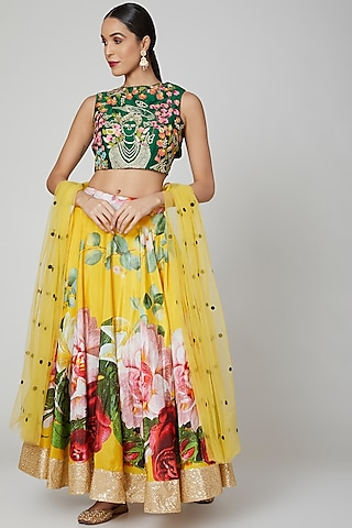 Yellow Embroidered Lehenga Set by Aharin India