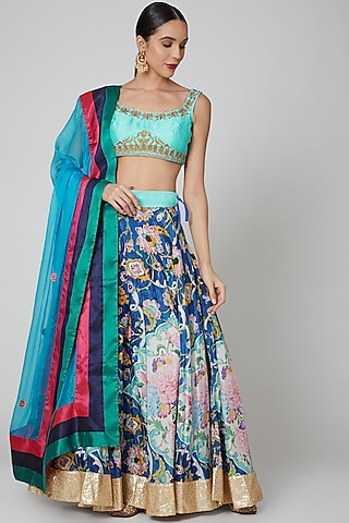 Blue Floral Lehenga Set by Aharin India