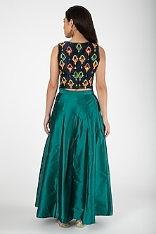 Navy Blue Embroidered Jacket With Teal Lehenga by Aharin India