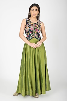 Navy Blue Embroidered Jacket With Mehendi Green Lehenga by Aharin India