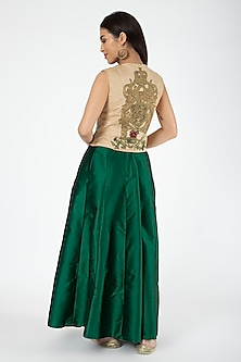 Gold Embroidered Jacket With Bottle Green Lehenga by Aharin India